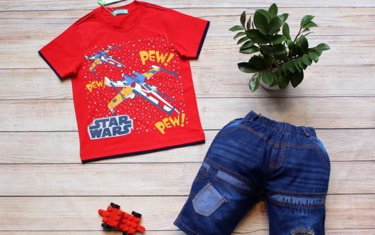 xưởng may quần áo trẻ em giá sỉ Veco - quần jean áo thun nam star màu đỏ