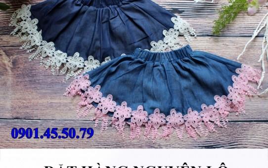 xưởng may quần áo trẻ em giá sỉ Veco - váy jean phối ren duyên dáng 4