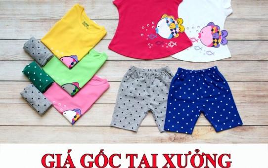 Xưởng may quần áo trẻ em xuất khẩu giá sỉ - bộ lửng bé gái cá chép dễ thương 3