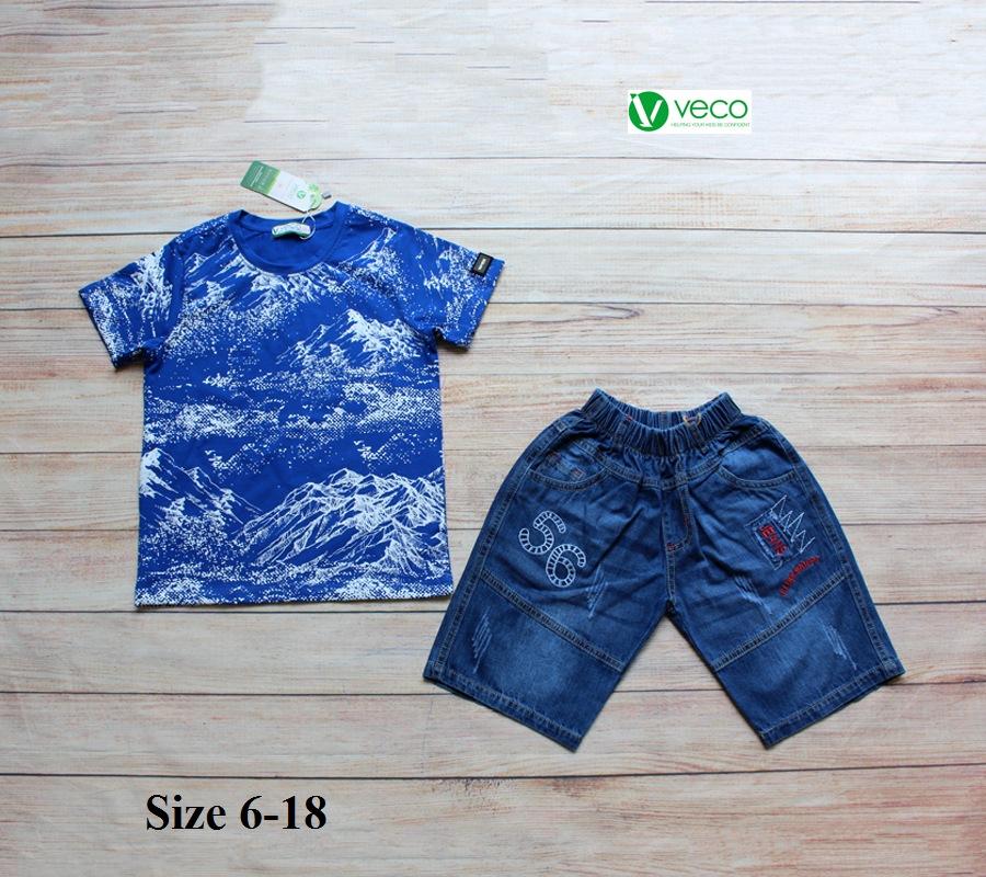 xưởng may quần áo trẻ em giá sỉ VECO - Bộ jean nam cá tính cho bé 50kg (4)